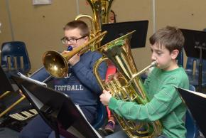 A picture of students playing band instruments